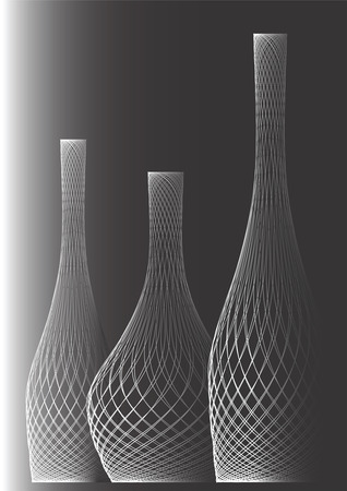 It is black white drawing of three bottles on a black background. Illustration
