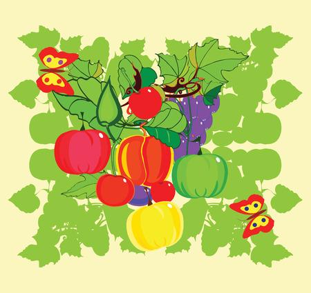 illustration of a plentiful crop of fruit,