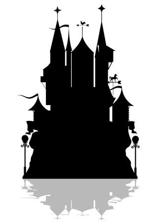 black princess: illustration of a fantastic fortress.