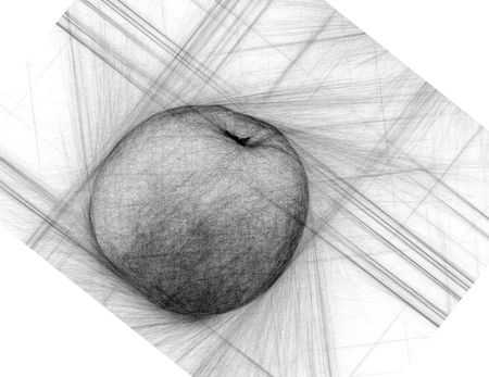 foreshortening: apple drawing in an unusual foreshortening