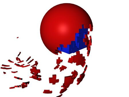 hatched: The picture representing a break of a sphere from which is born a cube Stock Photo