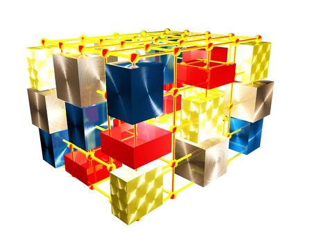 calculating: 3d  abstract illustration of different cubes and spheres connected in a single whole Stock Photo