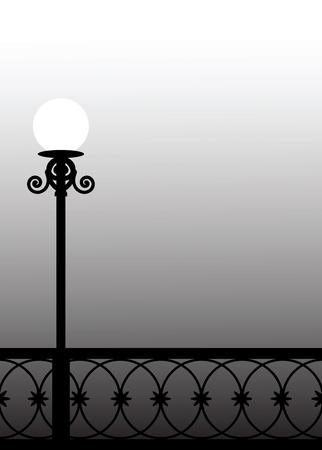 foggy: Street lantern in the foggy evening on the bridge.