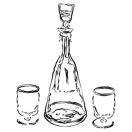 decanter: Illustration of a decanter and two wine-glasses for whisky