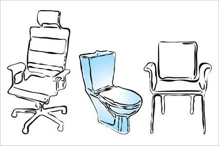 Illustration of some furniture for employees of office