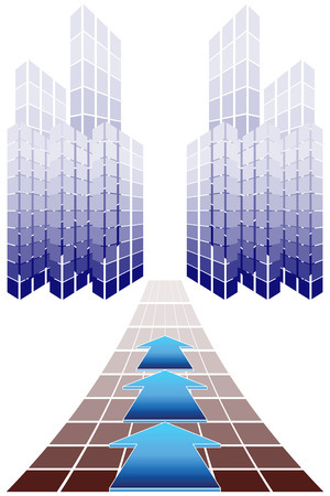 megapolis: The symbolical image of skyscrapers on horizon. Road with an arrow. Illustration