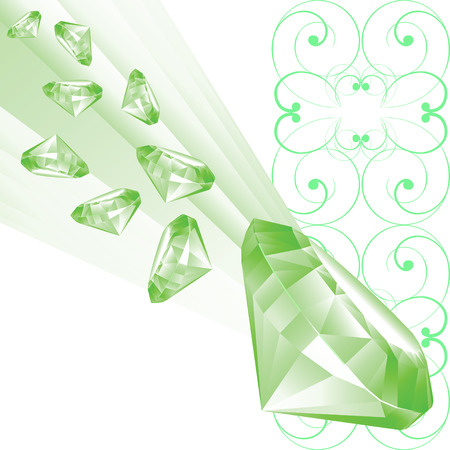 peridot: Illustration  green brilliants on a white background