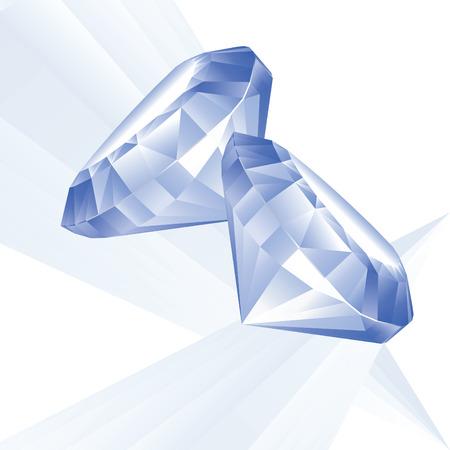 zafiro: Ilustraci�n de dos brillantes azules sobre un fondo blanco Vectores