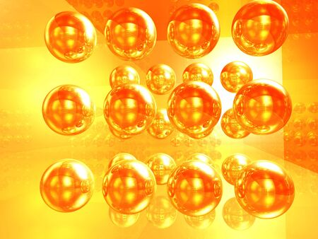 The abstract image, illustration of a set of gold spheres Stock Illustration - 5984784