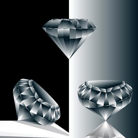 pietre preziose: Illustrazione di tre brillanti incastonati blu su sfondo bianco e nero
