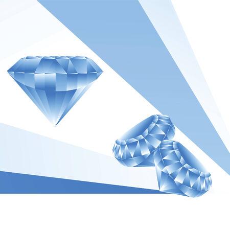 opal: Illustration of three blue brilliants on a white  background Illustration