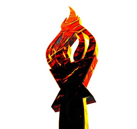 heroism: Burning torch. Monument in the form of a burning torch. Stock Photo