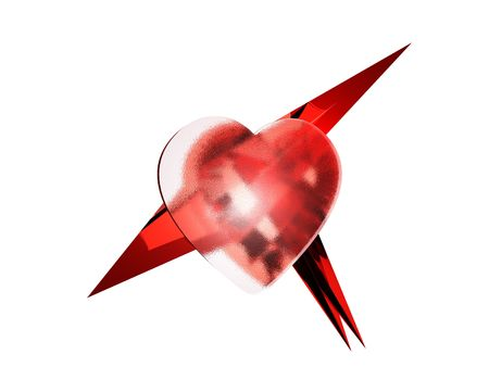 letting: Red glass heart letting out needles on a white background.