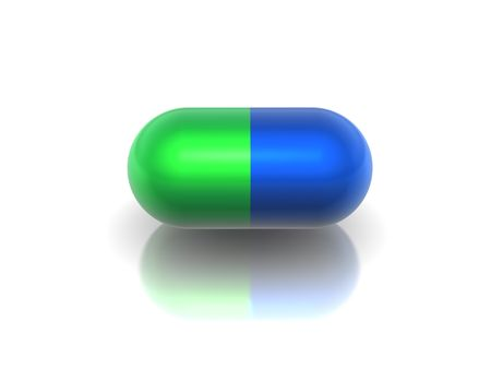 Medicinal capsule of green and  blue colour on a white background