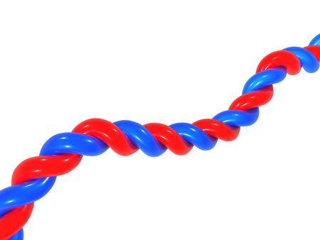 Twisted pair, electric cable of blue and red color on a white background