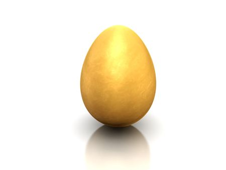 The image of brilliant gold egg on a white background