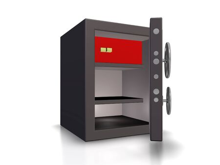 The image of the safe with an open door on a white background
