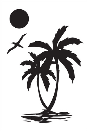 Illustration of sea coast, palm tree and a seagull