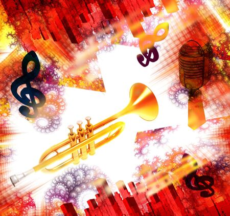 quavers: Musical instrument a trumpet on a background of city streets and patterns.