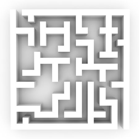 Illustration of the confused labyrinth, puzzle or problem