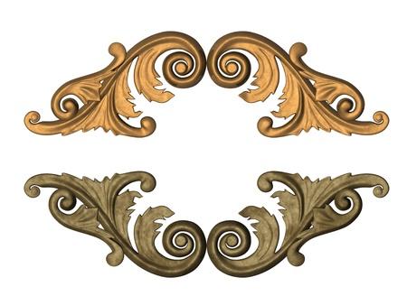 ornement or 3D sous la forme de sculpture sur bois Banque d'images