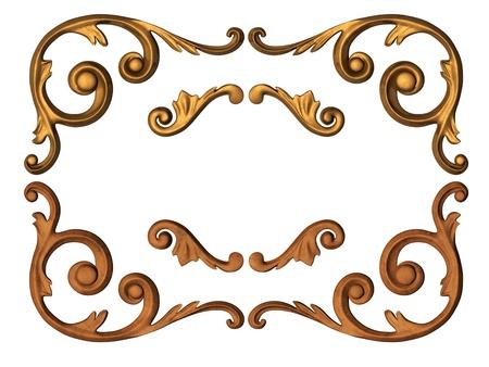 tallado en madera: 3D ornamentos de oro en forma de tallado Foto de archivo