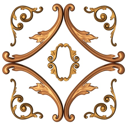 3d gold ornament in the form of woodcarving