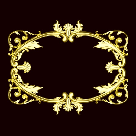 3d gold ornament, the sculptural form on a dark velvet background Stock Photo