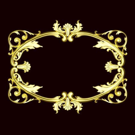 3d gold ornament, the sculptural form on a dark velvet background Stock Photo