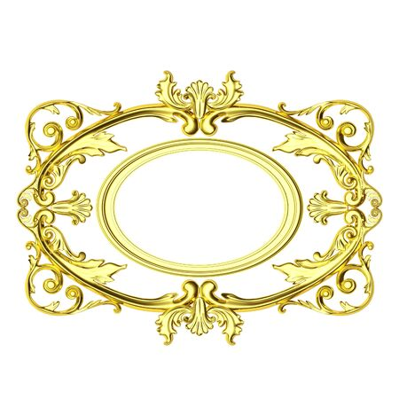 3d gold frame, the sculptural form on a white background photo