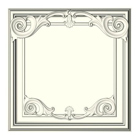 baroque: marco 3D, el formulario escult�rico sobre un fondo blanco Foto de archivo