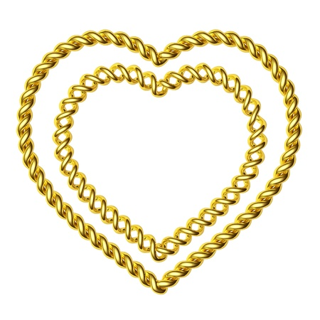 3d two beautiful hearts made of a gold wire