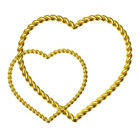 jeweller: 3d two beautiful hearts made of a gold wire
