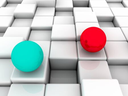 The surface consisting of white squares, two spheres blue and red photo