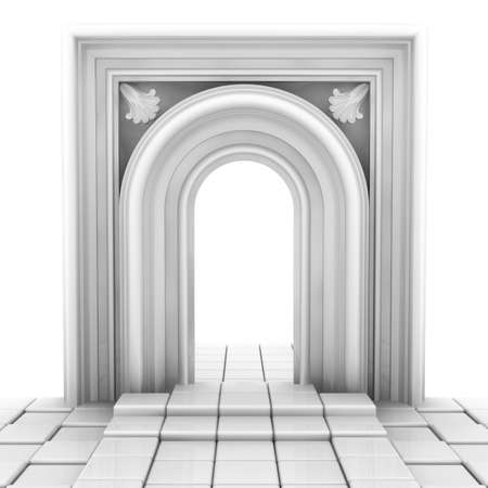 3d Illustration, arch and glossy white floor illustration