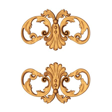 3d illustration of an ancient gold ornament on a white background illustration