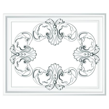3d  frame, the sculptural form on a white background photo