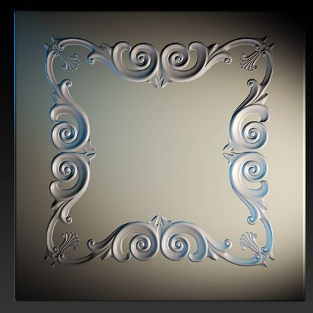 3d  frame, the sculptural form on a dark background photo