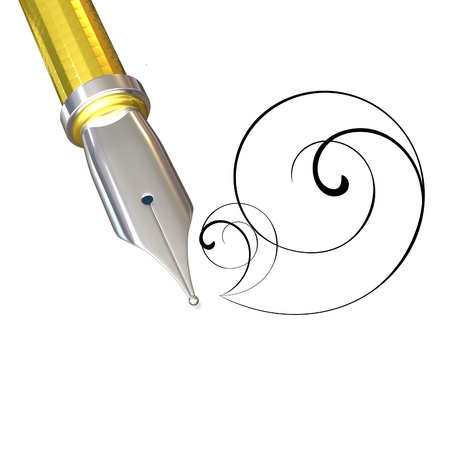 3d illustration of a gold feather for a pen on a white background Stock Photo
