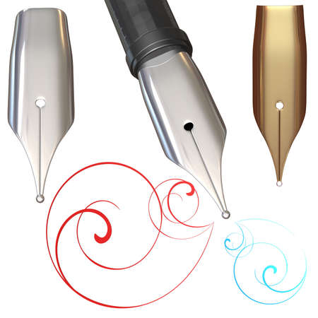 3d illustration of a silver feather for a pen on a white background illustration