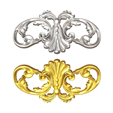 3d illustration of an ancient gold ornament on a white background Stock Illustration - 9232544