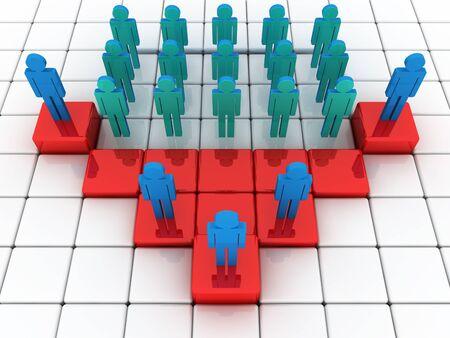 desigualdad: Ilustraci�n 3D que representa una desigualdad social en los negocios y en una vida