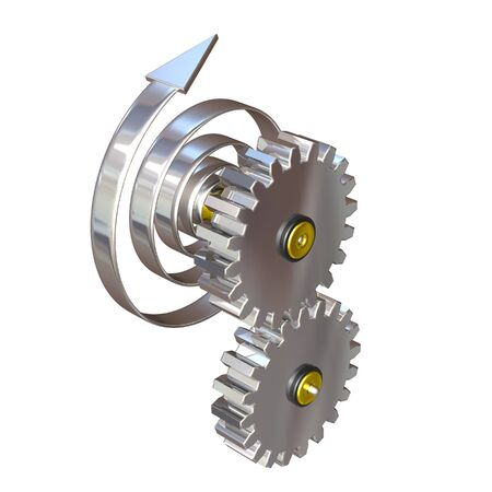 clockworks: 3d illustration, two gear wheels rotate by means of a mainspring Stock Photo