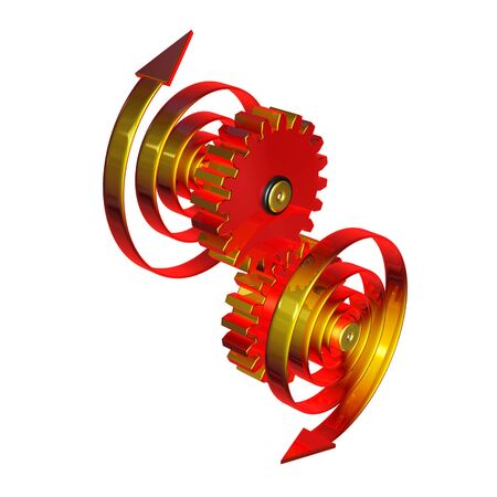 3d illustration, two spirals rotate mechanisms in opposite directions
