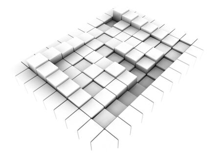 3d illustration surface consisting of white  squares illustration