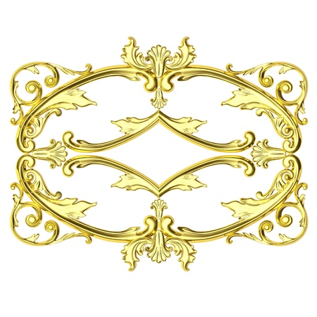 3d gold framework, the sculptural form on a white background photo
