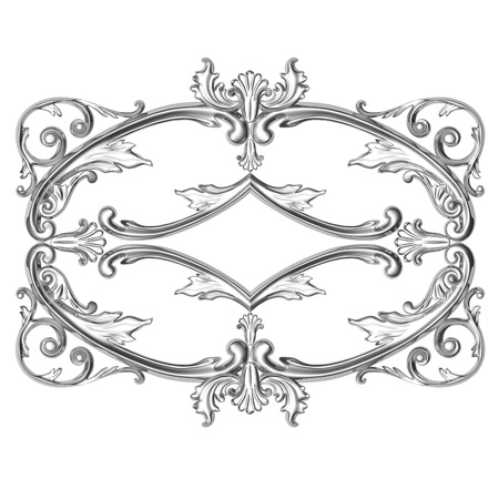 3d silver framework, the sculptural form on a white background photo