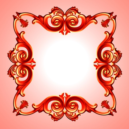 3d  red framework, the sculptural form on a red background photo