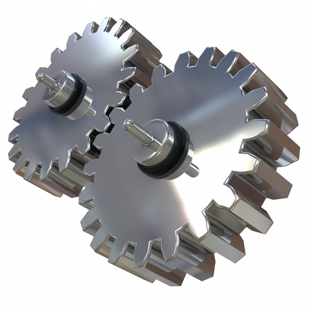 3d illustration, two gears of silver alloy rotate around its axis Stock Illustration - 13624685