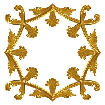 3d illustration gold ornamentation for interior decoration
